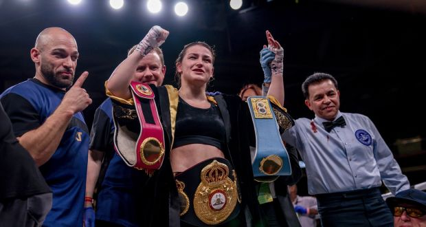 Katie Taylor celebrates after defeating Rose Volante to secure the WBO title at Liacouras Centre, Philadelphia. Photograph: Tom Hogan/Inpho