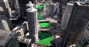 The Chicago River as it winds its way through downtown after being dyed green. Photograph: Scott Olson/Getty Images