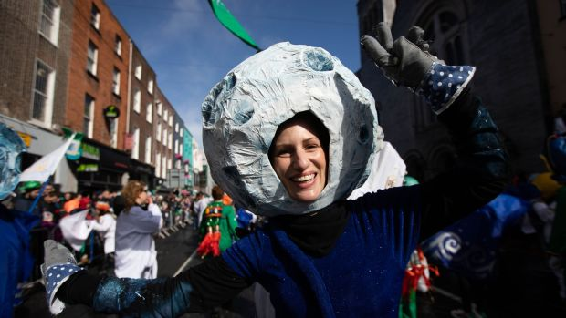 "Lumen street theatre ""One Giant Leap"", taking part in Limerick's St Patrick's Day parade. Photograph: Sean Curtin/True Media"