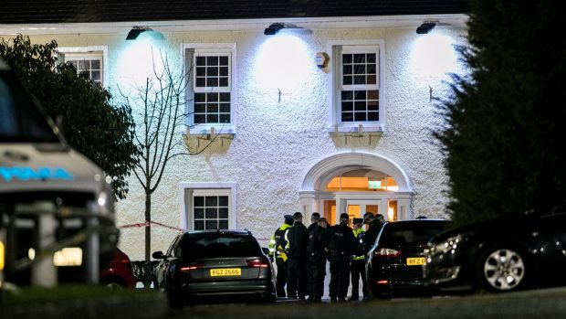 Police at the entrance of the Greenvale Hotel in Cookstown Co. Tyrone in Northern Ireland. Photograph: Liam McBurney/PA Wire