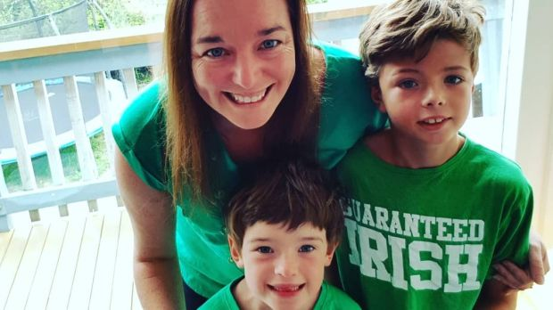 Linda de Paor with her sons Luca and Eli at home in Cass Bay on St Patricks Day, 2018.