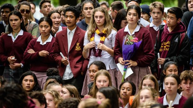 School students attend a vigil in Christchurch on March 18th, three days after a shooting incident at two mosques in the city that claimed the lives of 50 Muslim worshippers. Photograph: Anthony Wallace/AFP/Getty Images