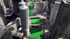 Timelapse of Chicago River turning green for St Patrick's Day
