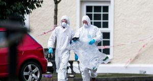 PSNI forensic officers at The Greenvale Hotel in Cookstown, Co Tyrone on Monday. Photograph: Liam McBurney/PA