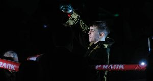 Michael Conlan makes his entrance to the ring ahead of his  featherweight fight   against Ruben Garcia Hernandez at  Madison Square Garden in  New York on Sunday night. Photograph: Emily Harney/Inpho