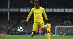 Chelsea winger Callum Hudson-Odoi has been promoted to the England senior squad for the forthcoming Euro 2020 qualifiers against the Czech Republic and Montenegro. Photograph:  Paul Ellis/AFP/Getty Images