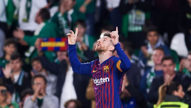 "Messi raised a hand, then pointed to the sky as he does. ""I'm grateful,"" he said later. Photograph: Aitor Alcalde/Getty Images"
