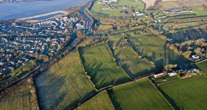 Aerial view of the Ballyoan site near Derry on which South Bank Square plans to build 780 homes.