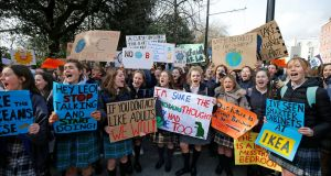 Participants in the march for climate change to the Dáil last Friday.  Photograph: Nick Bradshaw/The Irish Times