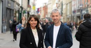 BooHoo founder Carol Kane with the company's new CEO, Offaly native John Lyttle,  in Dublin.  Photograph: Dara Mac Dónaill
