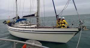 Rescuers aboard the 48ft ketch which was taking on water and in danger of sinking off the north Dublin coast. Photograph: Howth RNLI