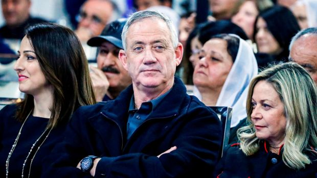 Benny Gantz attends a meeting with members of the Druze community of Israel in the city of Daliyat al-Karmel. Photograph: Jack Guez/AFP/Getty Images