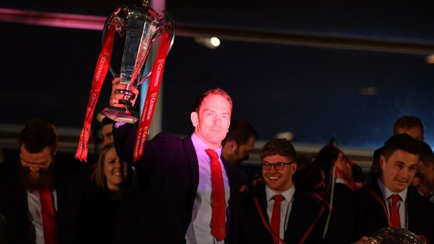 Wales captain Alun Wyn Jones with the Six Nations trophy at a celebration welcome at the Senedd in Cardiff Bay on Monday. Photograph: Simon Galloway/PA Wire