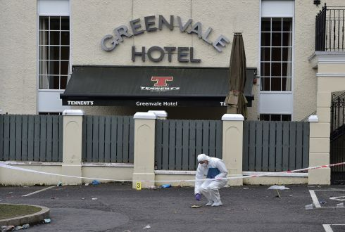 TEENAGERS KILLED: Forensic police outside the Greenvale Hotel nightclub in Cookstown, Co Tyrone after a 17-year-old girl and two boys aged 16 and 17 died in a crushing incident outside a St Patrick's Day party being held at the hotel. Photograph: Charles McQuillan/Getty Images