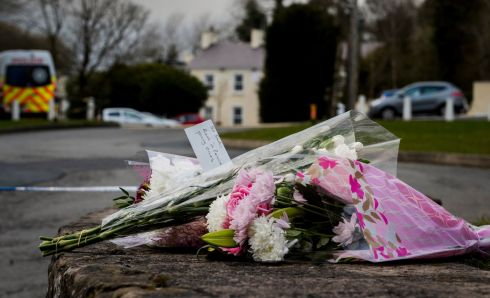 ST PATRICK'S NIGHT TRAGEDY: Flowers left in tribute outside the Greenvale Hotel in Cookstown, Co Tyrone, after three teenagers died in a crushing incident. Photograph: Liam McBurney/PA Wire
