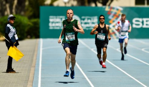 SILVER LINING: Team Ireland's Brendan Maguire (left), a member of COPE Foundation from Castlemartyr, Co Cork, on his way to winning silver in the 400m on day four of the 2019 Special Olympics World Games in the Dubai Police Officer's Club Stadium, Dubai, United Arab Emirates. Photograph: Ray McManus/Sportsfile