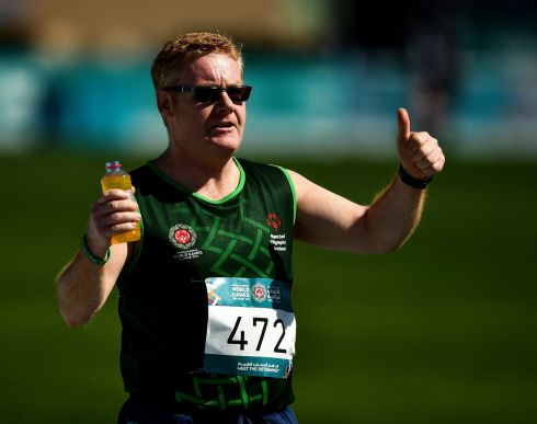 MORE POWER TO YOU: Team Ireland's Alan Power, of the South Dublin Special Olympics Sports Club, from Wood Town, Knocklyon, Co Dublin, celebrates winning bronze in the 5,000m, at the 2019 Special Olympics World Games in Dubai, United Arab Emirates. Photograph: Ray McManus/Sportsfile