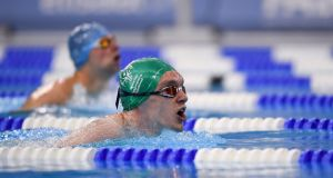Ireland's Jack McFadden, from Dublin, on his way to winning a Gold Medal in the 200m breaststroke on day four of the 2019 Special Olympics World Games in Abu Dhabi. Photograph: Ray McManus/ Sportsfile