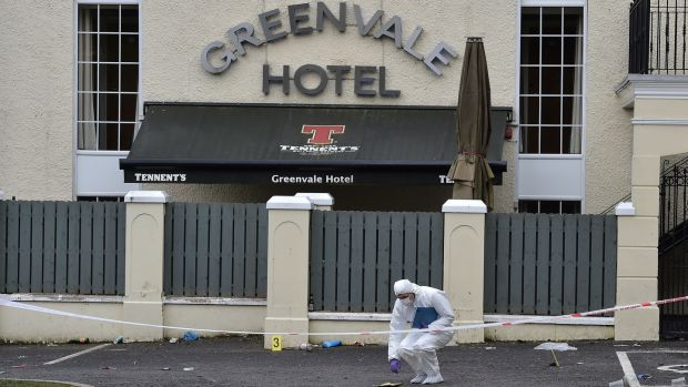 Police forensic officers outside the Greenvale Hotel nightclub in Cookstown, where three teenagers died after reports of a crush at a St Patrick's night disco. Photograph: Charles McQuillan/Getty Images