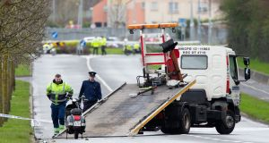 In Dublin, a male motorcyclist in his 40s died at about 7am on Monday in a single-vehicle collision at Whitestown Way in Tallaght. Photograph: Tom Honan