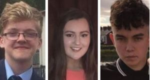 Books of condolence have been opened in memory of Morgan Barnard (L), Lauren Bullock and Connor Currie (R) who died following reports of a crush outside a St Patrick's Day disco.