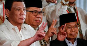 "Philippine president Rodrigo Duterte (left): ""I will just be clear that my last remaining years will be the most dangerous years for a person into drug trafficking,"" he said.  Photograph:  Mark R Cristino/EPA"