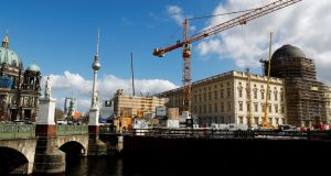 Construction at the Berliner Schloss (Berlin City Palace)  Humboldtforum. The mood among German investors improved by much more than expected in March, a survey has revealed. Photograph: Reuters
