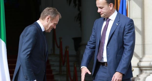 Donald Tusk (left) at Government Buildings, Dublin for a meeting with Leo Varadkar. Photograph: Nick Bradshaw
