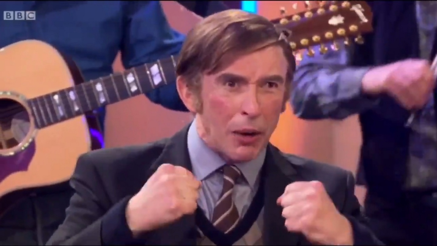 Alan Partridge singing Come Out, Ye Black and Tans both awkward and