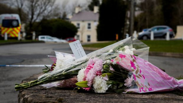 Flowers left in tribute at The Greenvale Hotel in Cookstown Co Tyrone. Photograph: Liam McBurney/PA