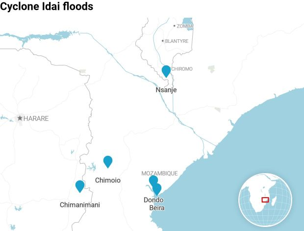 The main cities and towns in Mozambique, Malawi and Zimbabwe hit by flooding