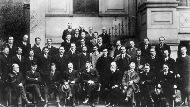 "Members of the first Dáil who met a century ago. ""It is only by studying history that we learn who we are, where we have come from, what our antecedents were like.... and, more importantly, what is to become of us in the future."" Photograph: Hulton Archive"