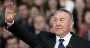 Kazakhstan's president Nursultan Nazarbayev waves to audience during a rally in  April, 2015. File photograph: Shamil Zhumatov/Reuters