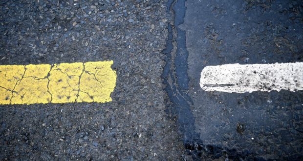 Invisible Border? A change in road markings marks where the Border lies outside Middletown in Co Armagh.