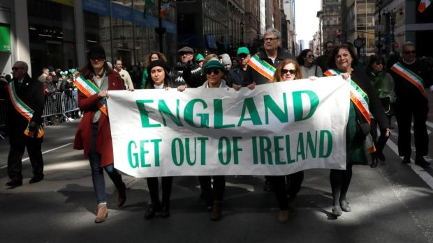 Members of the Brehon Law Society marching in the St Patrick's Day parade in New York. Photograph: Mike Segar/Reuters