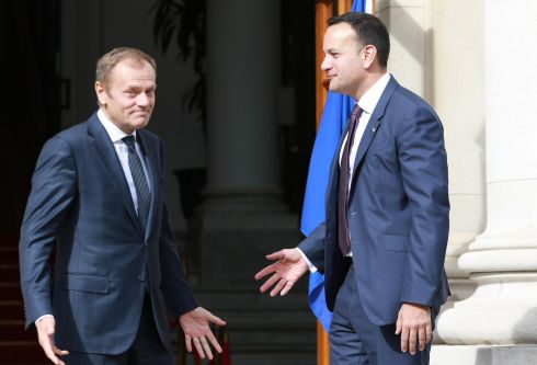 LET'S HAVE A CHAT: European Council president Donald Tusk arrives at Government Buildings in Dublin for a meeting with Taoiseach Leo Varadkar.  Photograph: Nick Bradshaw