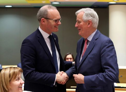 IT'S GETTING CLOSER: Minister for Foreign Affairs Simon Coveney and European Union chief Brexit negotiator Michel Barnier  take part in a General Affairs Council on Article 50 in Brussels, Belgium, 10 days before the scheduled departure of the UK from the European Union. Photograph: Yves Herman/Reuters