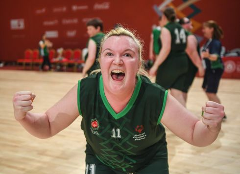 YA GOOD THING! Team Ireland's Siobhan Dunne, a member of Strabane SOC, from Strabane, Co Tyrone, celebrates after her team's 27-15 win over SO Bharat to capture the gold medal for basketball on day five of the 2019 Special Olympics World Games in the Abu Dhabi National Exhibition Centre, Abu Dhabi, United Arab Emirates. Photograph: Ray McManus/Sportsfile
