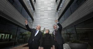 Former minister Michael Noonan with Louise Cotter, project architect, and Limerick mayor James Collins at the official opening of the Gardens International office development in the city.