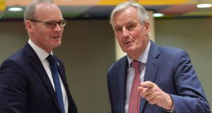 Minister for Foreign Affairs Simon Coveney and European chief Brexit negotiator Michel Barnier during a  council on article 50 negotiations   at the European Commission in Brussels. Photograph:  Emmanuel Dunand/AFP/Getty Images