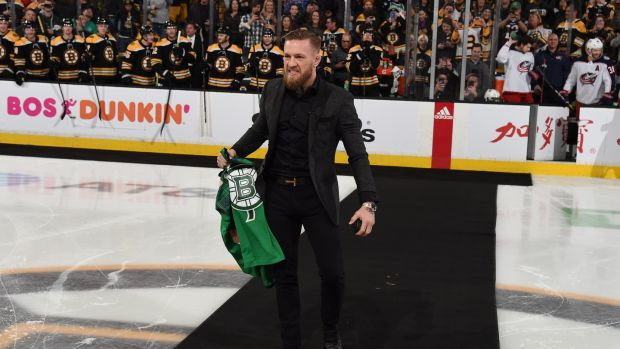 McGregor gets ready to drop the puck before the NHL game between the Boston Bruins and the Columbus Blue Jackets at the TD Garden. Photo: Steve Babineau/NHLI via Getty Images