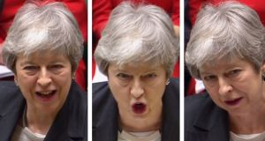 Britain's prime minister Theresa May speaking during the weekly Prime Minister's Questions in the House of Commons in London. Photograph: HO/PRU/AFP Photo