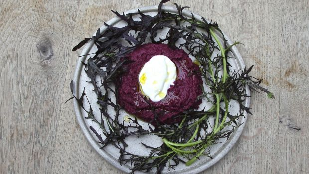Beetroot dip with a dash of Velvet Cloud yogurt