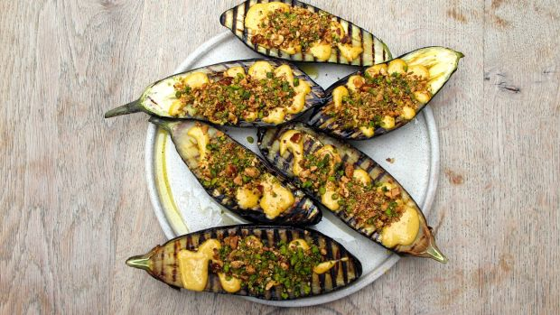 Grilled aubergine with tahini and dukkah
