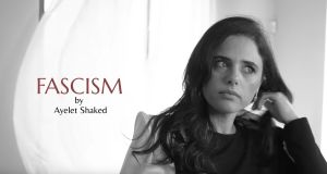 "Ayelet Shaked in the mock advert for ""Fascism"" perfume.  Photograph: Screengrab"