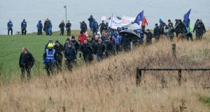 The great Leave Means Leave crusade gets under way in Easington, England. Photograph: Ian Forsyth/Getty Images