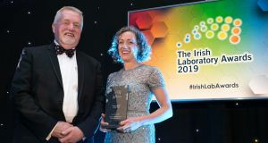 "Dr Jenny Lawler at the Irish Laboratory Awards 2019 in Ballsbridge Hotel, Dublin. ""I was also shortlisted for Young Leader of the Year, but I reckoned because of the lab award I wouldn't get another one. So I was really shocked and very happily surprised when I won that one too"""