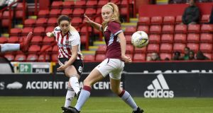Sheffield United's Sophie Jones (L) has left the club after being found guilty of racial abuse and banned for five matches. Photograph: George Wood/Getty
