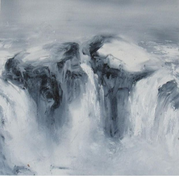 Holly Walsh, 'Oil study of Godafoss', oil on paper, Irish Architectural Archive