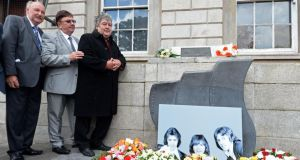 Miami Showband Brian Maguire, Road Manager, with Des Lee, Sax Player and Ray Miller, Drummer, of the origional Miami Shgowband, at a wreath-laying ceremony organised by Justice for the Forgotten, at Parnell square, Dublin. Photograph: Eric Luke